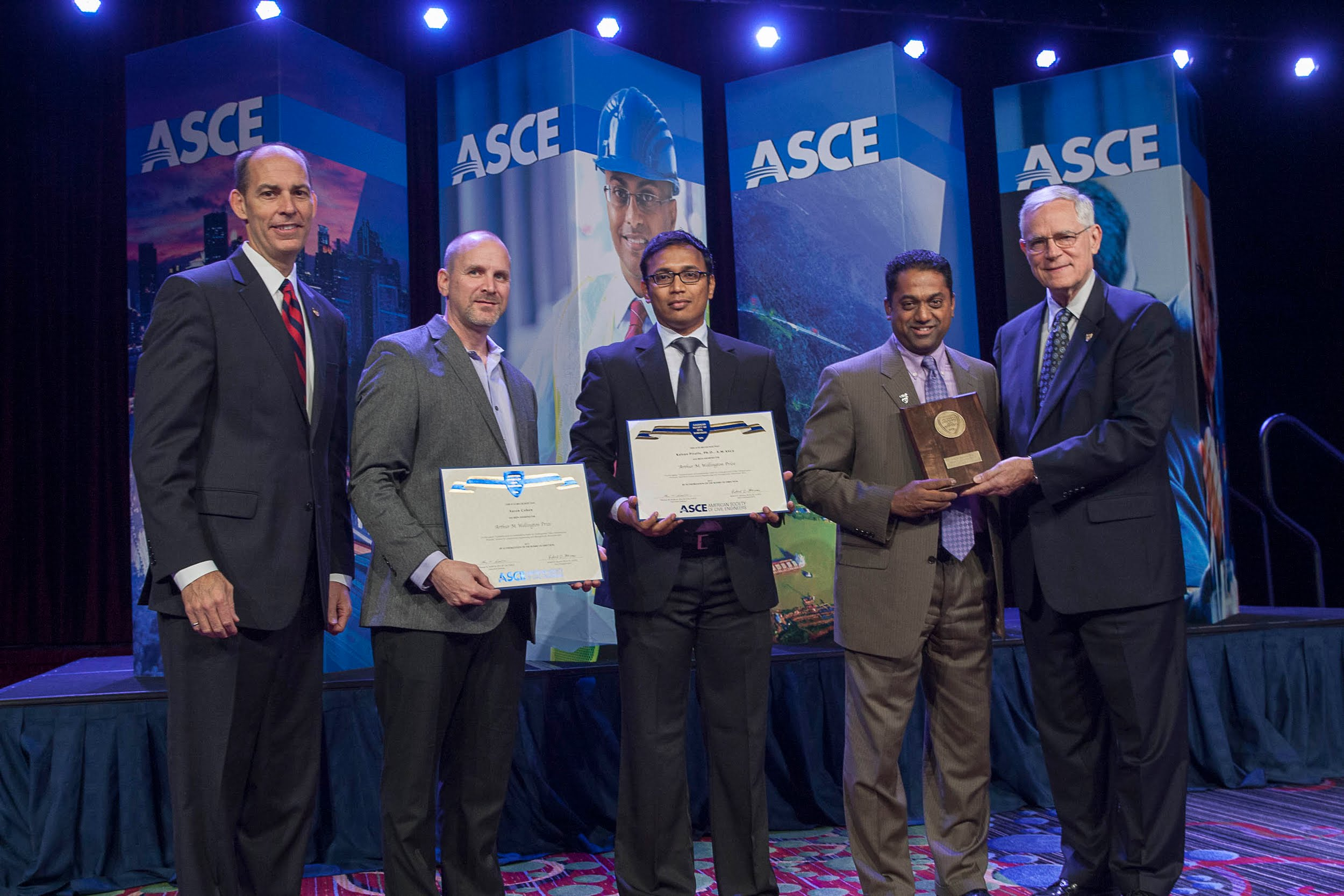 Left to Right: Mr. Thomas W. Smith III (ASCE's Executive Director), Mr. Aaron Cohen (Senior Lecturer at ASU), Dr. Kalyan R. Piratla (Asst. Prof. at Clemson), Dr. Samuel T. Ariaratnam (Prof. at ASU), and Dr. Robert D. Stevens (ASCE President)